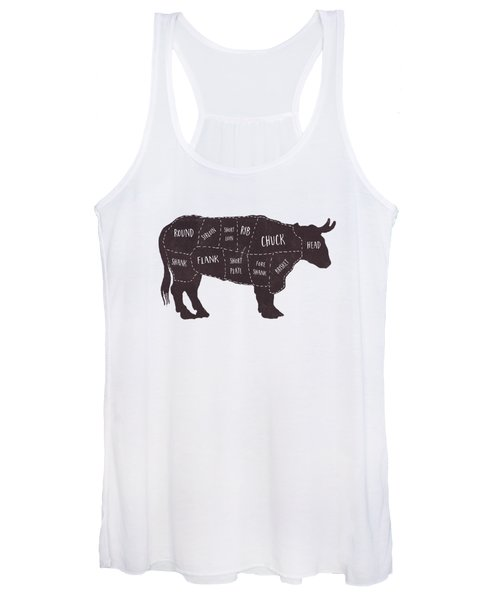 Women's Tank Top featuring the photograph Primitive Butcher Shop Beef Cuts Chart T-shirt by Edward Fielding