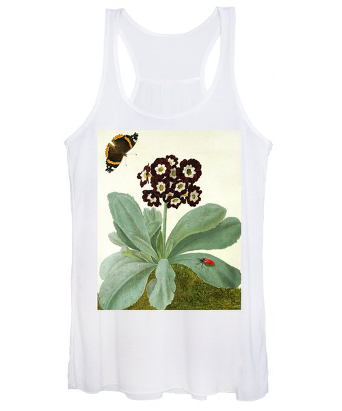 Primula Auricula With Butterfly And Beetle Women's Tank Top