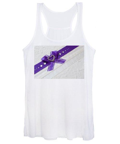Purple Ribbon Heart Women's Tank Top