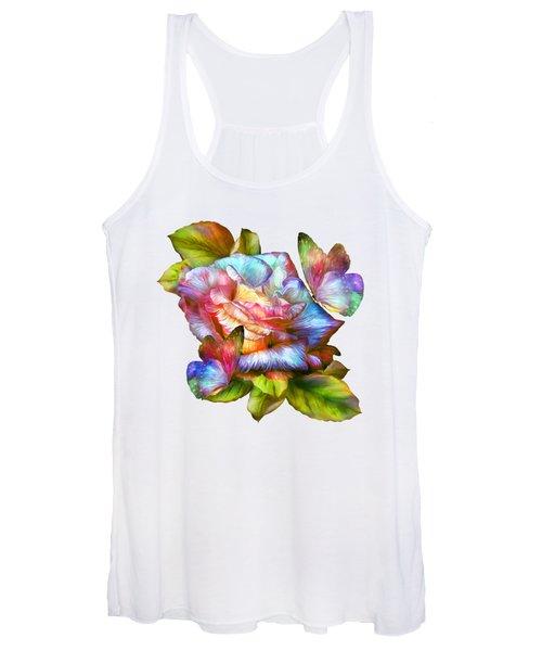 Rainbow Rose And Butterflies Women's Tank Top