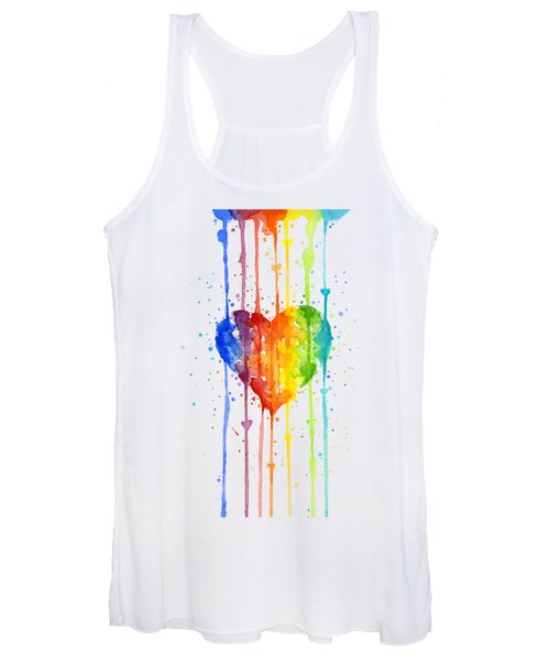 Rainbow Watercolor Heart Women's Tank Top