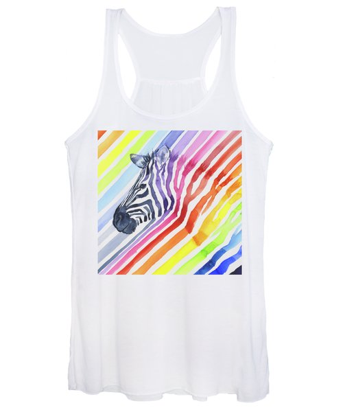 Rainbow Zebra Pattern Women's Tank Top