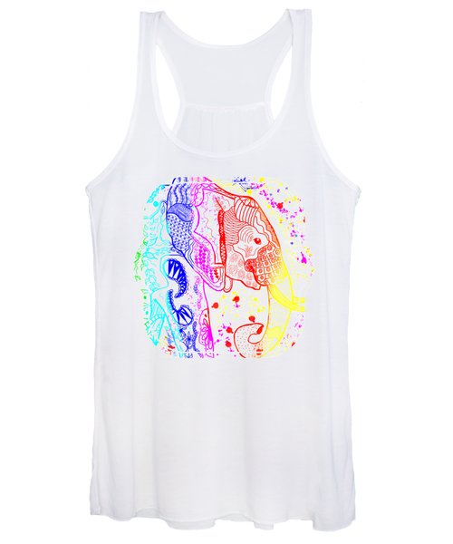 Rainbow Zentangle Elephant Women's Tank Top
