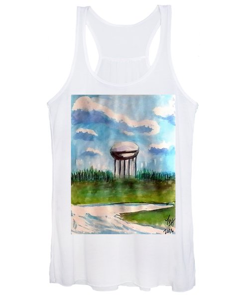 Women's Tank Top featuring the painting Raines Road Watertower by Loretta Nash