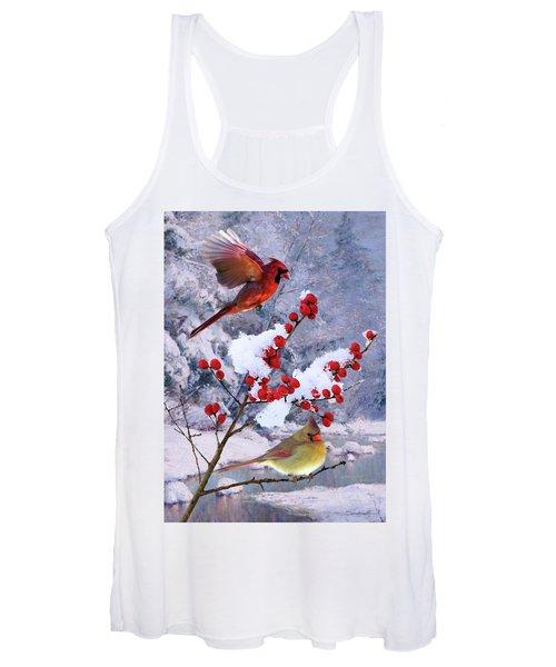 Red Birds Of Christmas Women's Tank Top