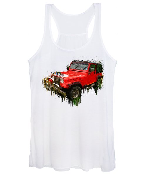 Red Jeep Off Road Acrylic Painting Women's Tank Top