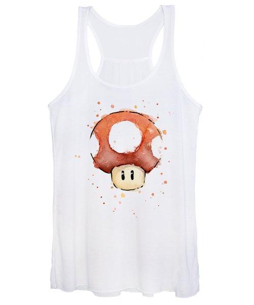 Red Mushroom Watercolor Women's Tank Top
