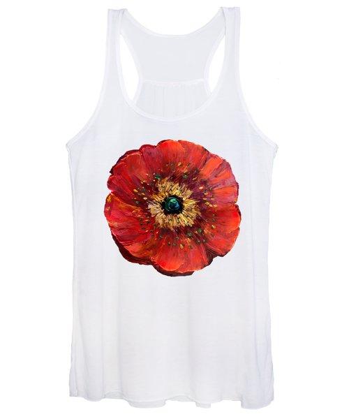 Red Poppy Transparent  Women's Tank Top