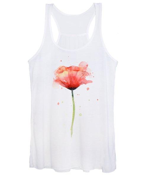 Red Poppy Watercolor Women's Tank Top
