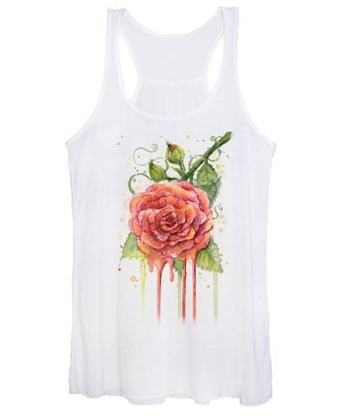 Red Rose Dripping Watercolor  Women's Tank Top