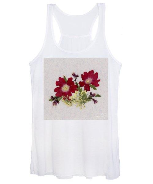 Red Verbena Pressed Flower Arrangement Women's Tank Top