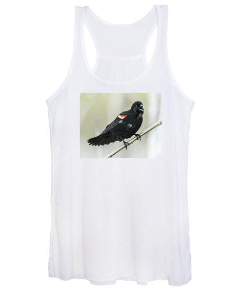 Red-winged Blackbird Singing Women's Tank Top