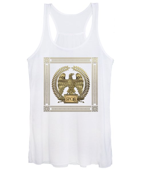 Roman Empire - Gold Imperial Eagle Over White Leather Women's Tank Top