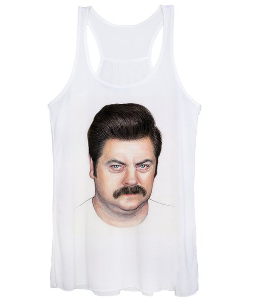 Ron Swanson Portrait Nick Offerman Women's Tank Top
