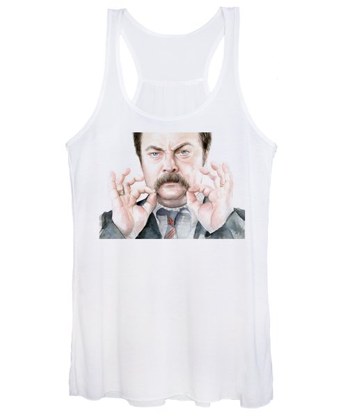 Ron Swanson Mustache Portrait Women's Tank Top