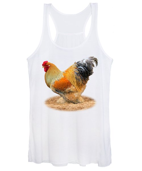 Rooster Side On White Women's Tank Top
