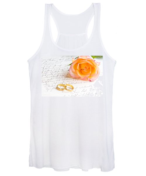 Rose And Two Rings Over Handwritten Letter Women's Tank Top