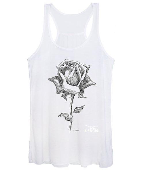 Rose Drawings Black-white 5 Women's Tank Top
