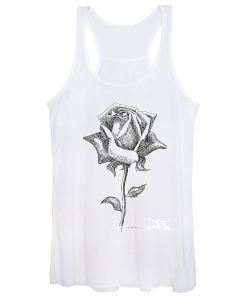 Rose Drawings Black-white 5 Women's Tank Top