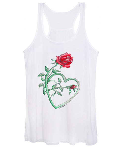 Roses Hearts Lace Flowers Transparency       Women's Tank Top