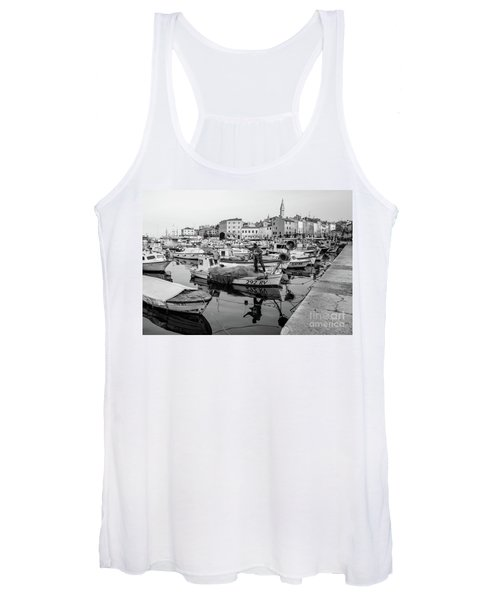 Rovinj Fisherman Working In Old Town Harbor - Rovinj, Istria, Croatia Women's Tank Top