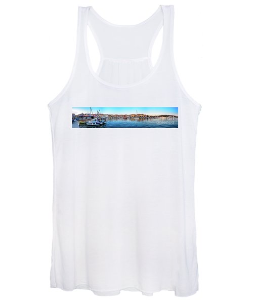 Rovinj Harbor And Boats Panorama Women's Tank Top