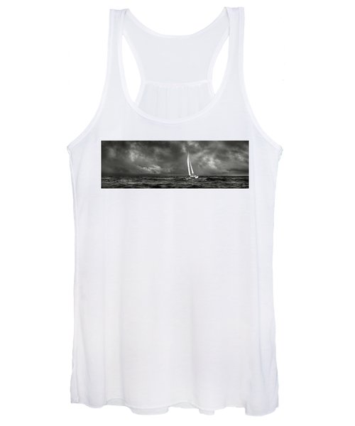 Sailing The Wine Dark Sea In Black And White Women's Tank Top