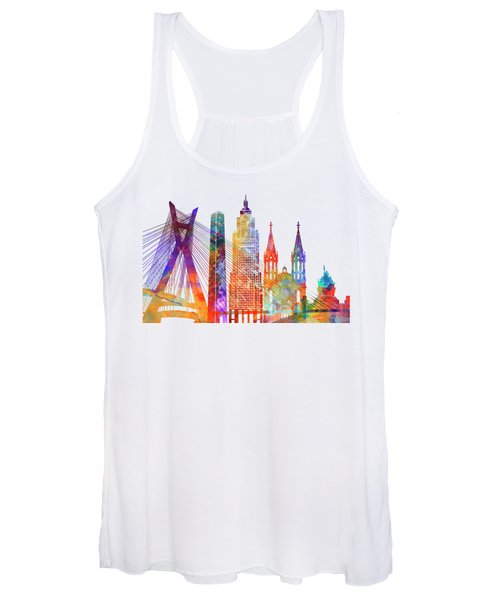 Sao Paulo Landmarks Watercolor Poster Women's Tank Top