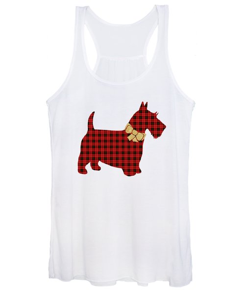 Women's Tank Top featuring the mixed media Scottie Dog Plaid by Christina Rollo