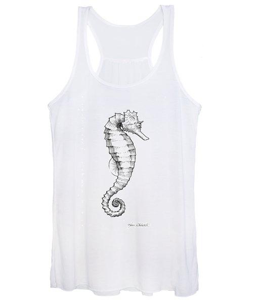 Seahorse Black And White Sketch Women's Tank Top