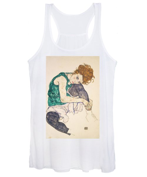 Seated Woman With Legs Drawn Up Women's Tank Top