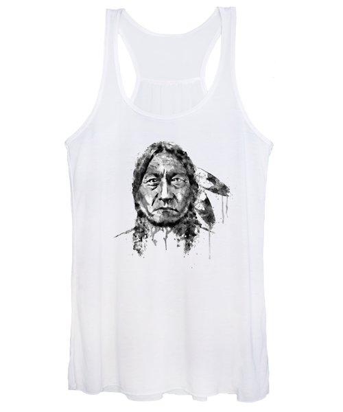 Sitting Bull Black And White Women's Tank Top