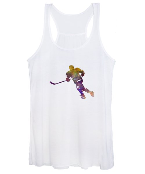 Skater With Stick In Watercolor Women's Tank Top