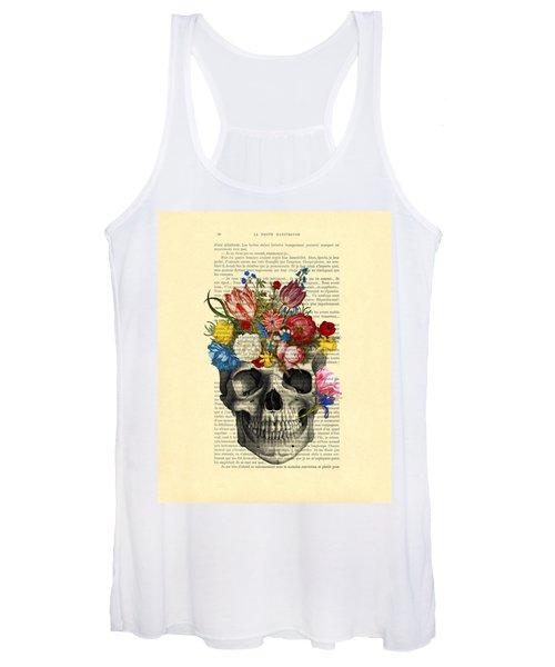 Skull With Flowers Vintage Illustration Women's Tank Top