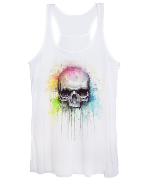 Skull Watercolor Painting Women's Tank Top