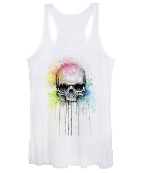 Skull Watercolor Rainbow Women's Tank Top