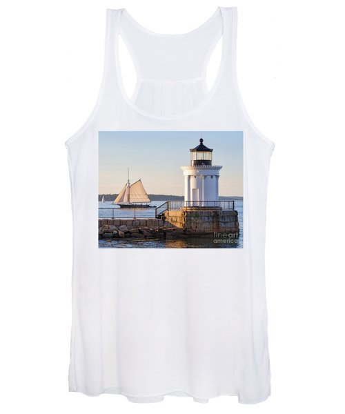 Sloop And Lighthouse, South Portland, Maine  -56170 Women's Tank Top