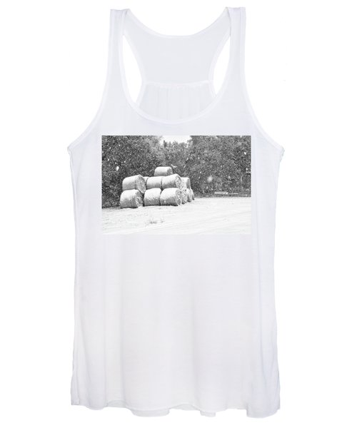Snow Covered Hay Bales Women's Tank Top