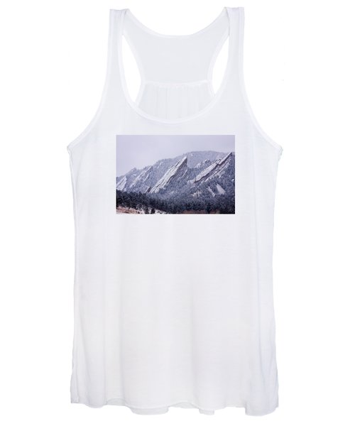 Snow Dusted Flatirons Boulder Colorado Women's Tank Top