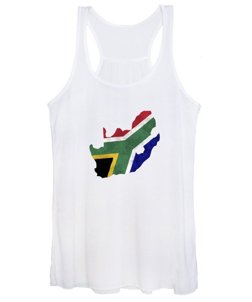 South Africa Map Art With Flag Design Women's Tank Top