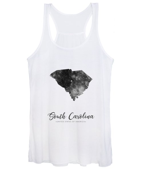 South Carolina State Map Art - Grunge Silhouette Women's Tank Top