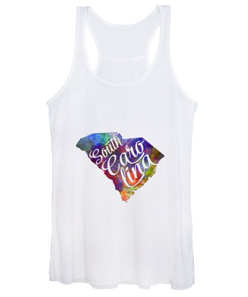 South Carolina Us State In Watercolor Text Cut Out Women's Tank Top