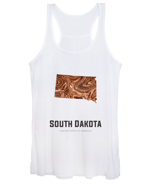 South Dakota Map Art Abstract In Brown Women's Tank Top