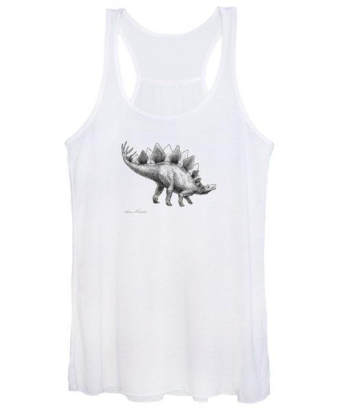 Stegosaurus - Dinosaur Decor - Black And White Dino Drawing Women's Tank Top