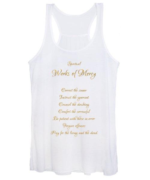 Spiritual Works Of Mercy White Background Women's Tank Top
