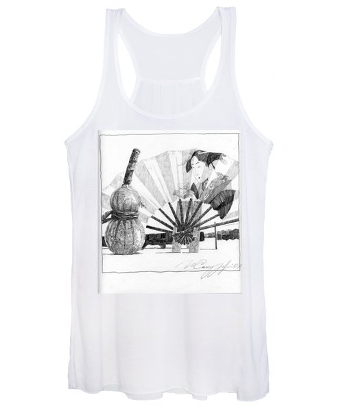 Spirit Of Japan. Pumpkin Jar And Fan Women's Tank Top