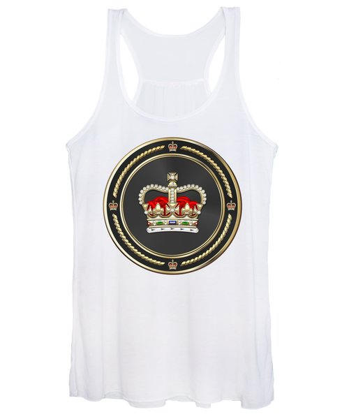 St Edward's Crown - British Royal Crown Over White Leather  Women's Tank Top