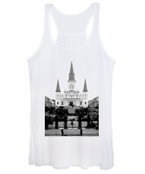 St Louis Cathedral On Jackson Square In The French Quarter New Orleans Conte Crayon Digital Art Women's Tank Top