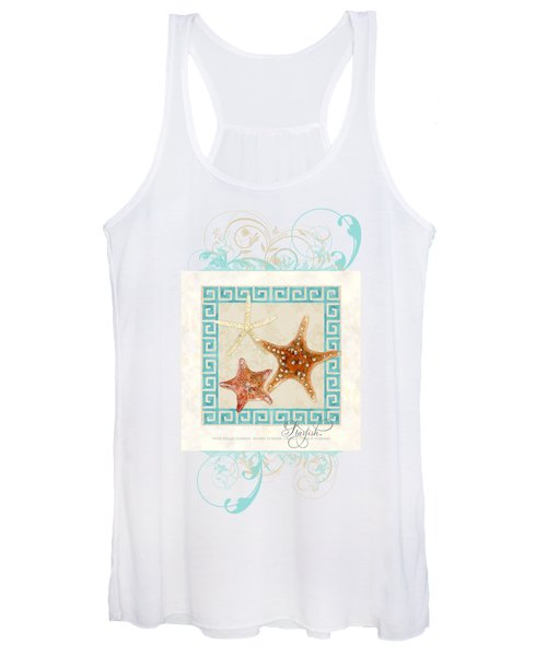 Starfish Greek Key Pattern W Swirls Women's Tank Top