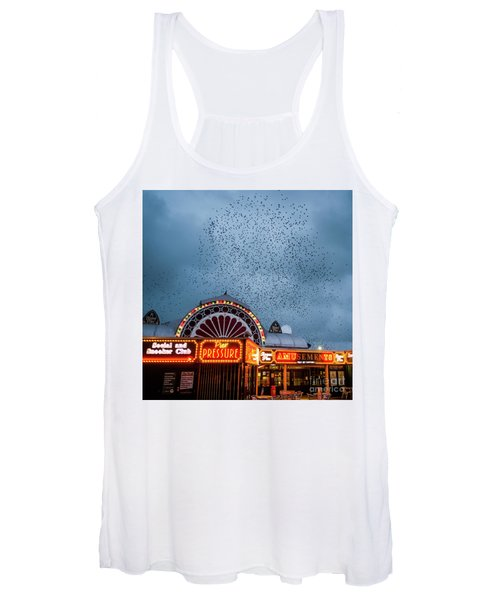 Starlings Over The Neon Lights Of Aberystwyth Pier Women's Tank Top